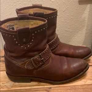 Dark brown Frye short studded buckle booties
